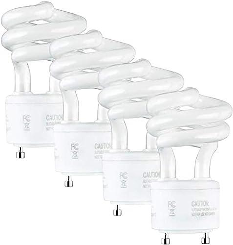 SleekLighting 13Watt T2 Spiral CFL GU24 Light Bulb Base 2700K 900lm -UL Approved,Compact Fluorescent -Warm White Ligh...