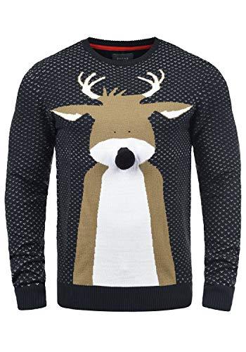 Blend Rudolph Herren Strickpullover Weihnachtspullover Mit Rundhalsausschnitt, Größe:XL, Farbe:Dark Navy/Nose (74677)