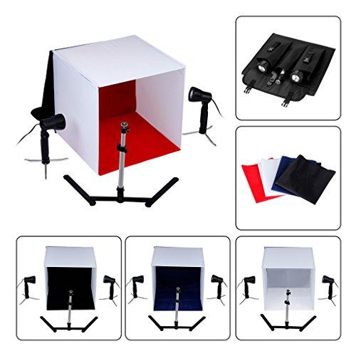 EXCELVAN Mini Kit de Estudio fotográfico portátil Incluye (Cube/Tienda de campaña) 40cm x 40cm Tienda de campaña + Calidad de Estudio LED Spotlights + trípode + Fondos de Color