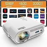 Mini proiettore, supporto 1080P Full HD Videoproiettore, proiettore portatile, 4000 Lumens/200 Display/Contrasto 3000: 1 Theater Movie Proiettore compatibile con TV Stick, HDMI, USB, AV, SD, VGA