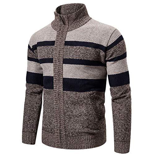 KPILP Herren Strickpullover Strickjacke Cardigan Grobstrick Streifen Pullover Mit Stehkragen Und Reißverschluss