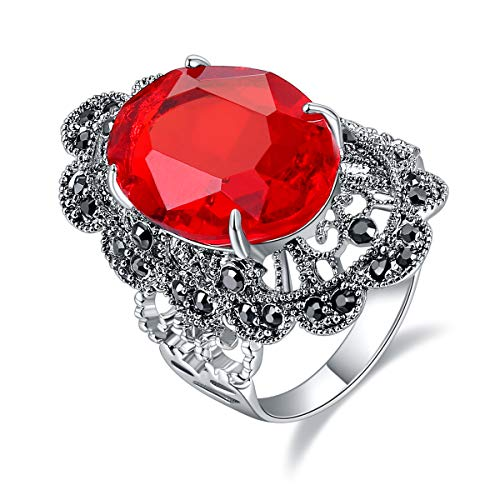 Ajojewel Big Oval Crystal Red Rings for Women Hollow Out Flower Design Finger Jewelry Vintage Anel...