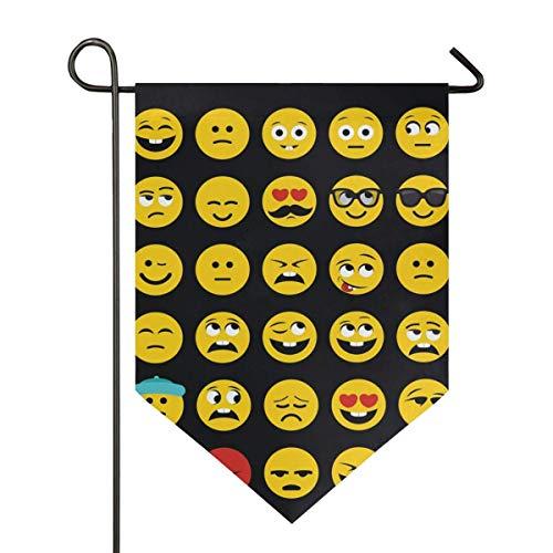 Garden Flag Funny Pattern Emoji Yard Banner Impresión de Doble Cara 12.5x18Inch