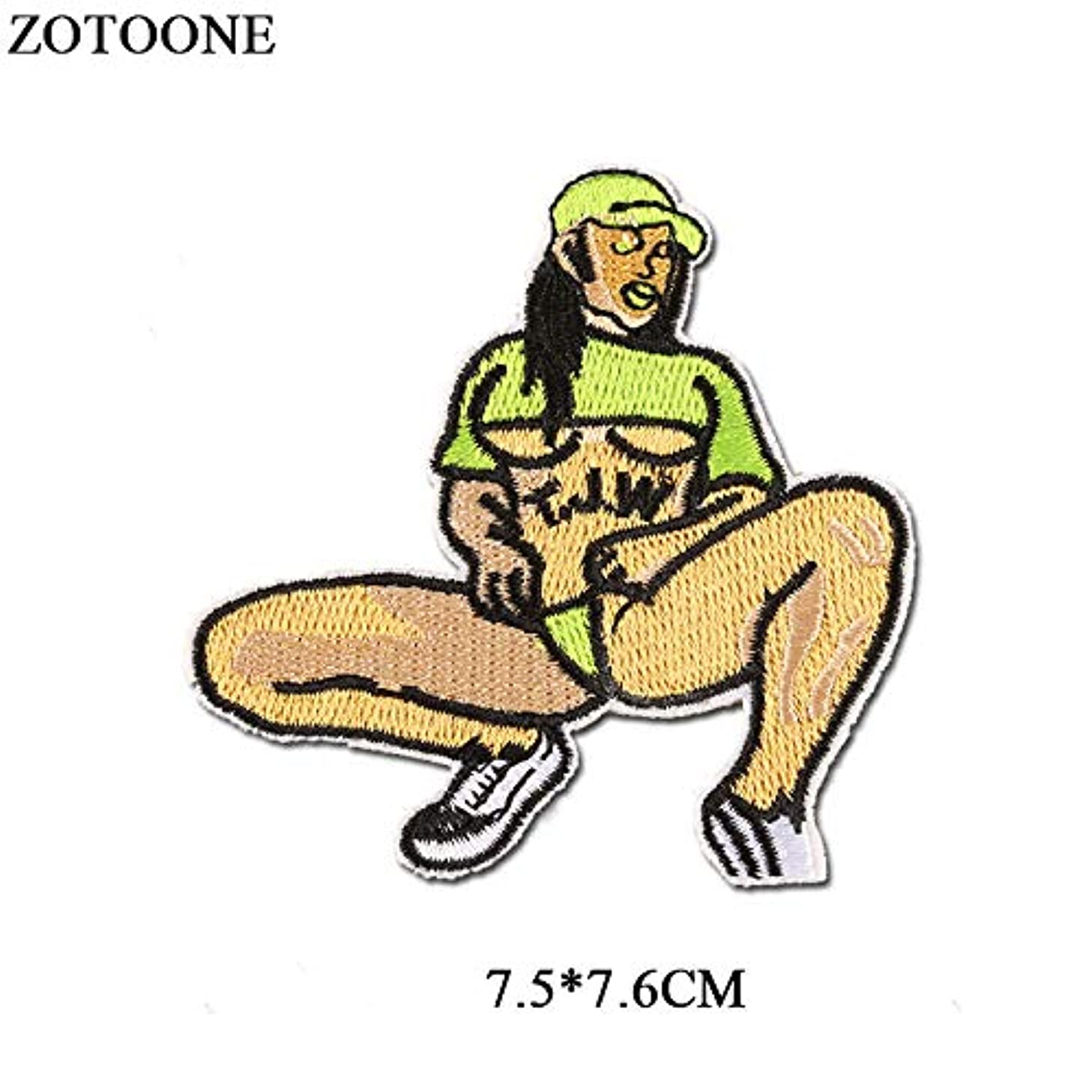 ZOTOONE Sexy Girl Iron On Patches for Clothes Backpack DIY Embroidered Motorcycle PVC Patch Sew On Badge Applique 1808