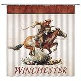 Winchester Duschvorhang American Wild West Desert Cowboy Pferd Galoppierpistole Schädel Gras Retro Männer Junge Badezimmer Dekoration Stoff Badezimmer Haken 177 x 177 cm Braun Beige