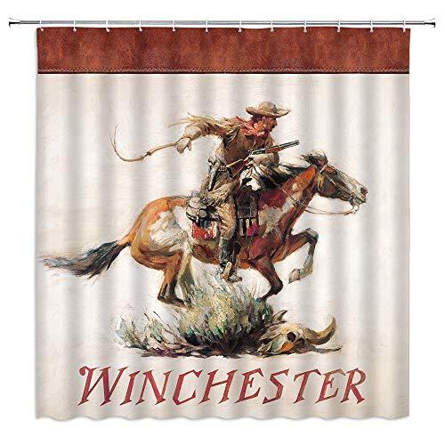 Winchester Shower Curtain American Wild West Desert Cowboy Horse Galloping Gun Skull Grass Retro Men Boy Bathroom Decoration Fabric Bathroom Hook 70x70 Inch Brown Beige