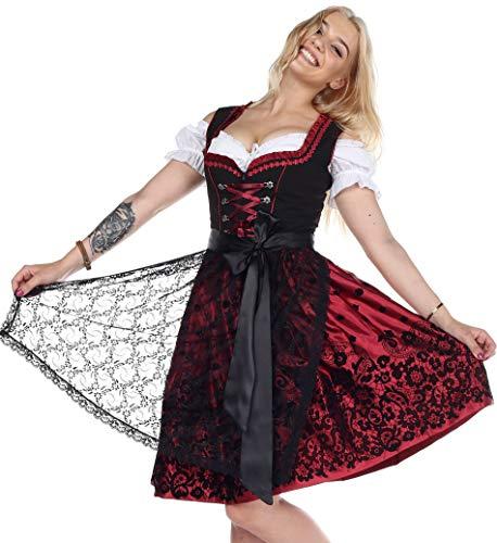 0200 Trachtenkleid 3Tlg. Dirndl Oktoberfest Gr.34 bis 52 !!ORIGINAL LIFOS!! (38 (Brust 90cm Taille 76cm))