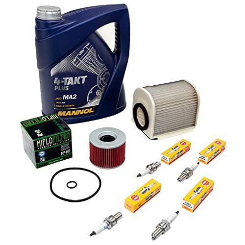 Wartungspaket Öl 4L + Luftfilter + Ölfilter + Zündkerzen für Yamaha XJR 1200 XJR 1300 XJR1200 XJR1300 Baujahr 1995-2006