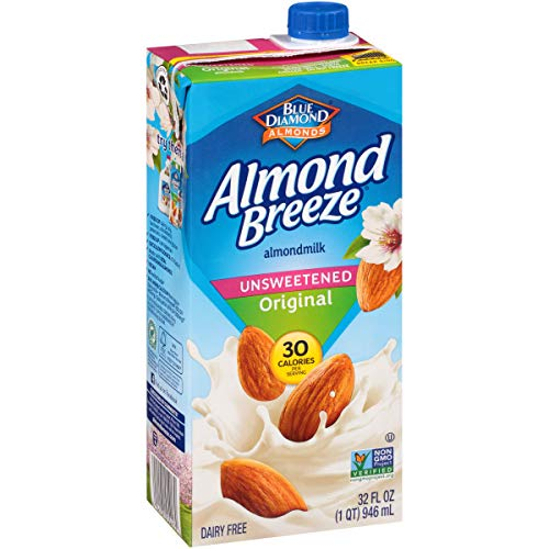 Blue Diamond Almonds Breeze Dairy Free Almondmilk, 32, Unsweetened Original, 384 Fl Oz (Pack of 12)