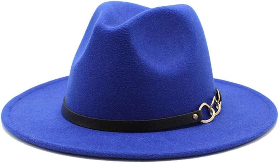 LHZUS Hats Men's Women's Cotton Flat Brim Hat Panama Style Fedora Hat Jazz Gentleman European Formal Hat (Color : E Blue, Size : 56-58cm)