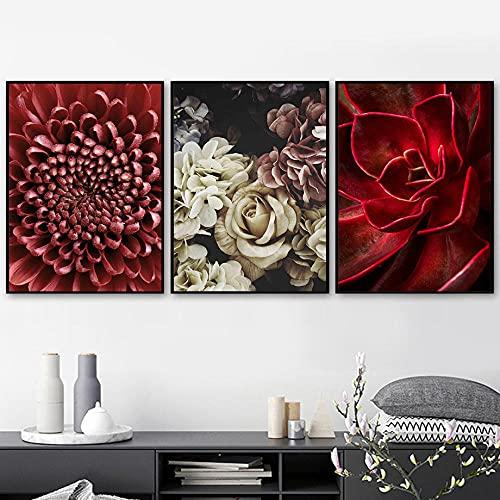 Pintura de la lona de suculentas rojas Cartel de la impresión de la planta colorida moderna Arte de la pared Estilo escandinavo Decoración de la sala de estar del hogar Mural 40x60cmx3 Sin marco