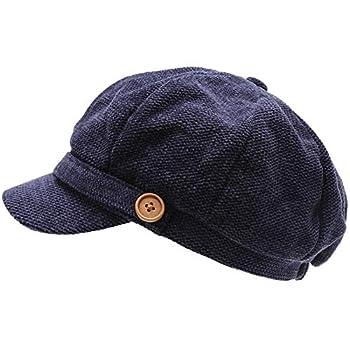 MIRMARU Women s Classic Visor Baker boy Cap Newsboy Cabbie Winter Cozy Hat with Comfort Elastic Back  Chenille Navy