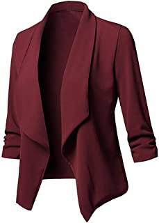 Fashion Blazer Solid Womens Open Front Cardigan Long Sleeve Blazer Autumn Winter Casual Jacket Coat