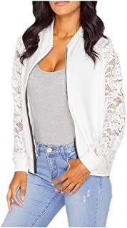 EnergyWD Womens Zipper Lace Floral Long-Sleeve Band-Collar Casual Jackets Coat
