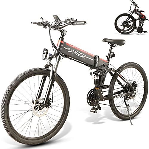 Bicicleta Electrica Montañade 26 Pulgadas, Mountain Bike Motor de 500W con Batería Extraíble de 48V 10 Ah, Bicicletas Eléctricas Plegables con Instrumento LCD Central & Autonomía Buena,Black