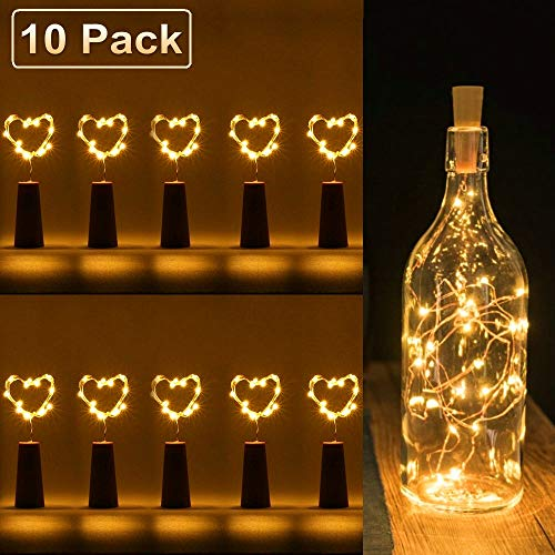 FANSIR Wine Bottle Lights with Cork, 10 Pack 15 LED Battery Operated Cork Shape Copper Wire Fairy Mini String Lights for DIY, Party, Decor, Wedding Indoor Outdoor (Warm White)