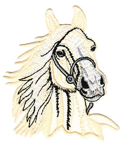 Aufnäher Bügelbild Aufbügler Iron on Patches Applikation Pferd Kopf reiten Pferdekopf