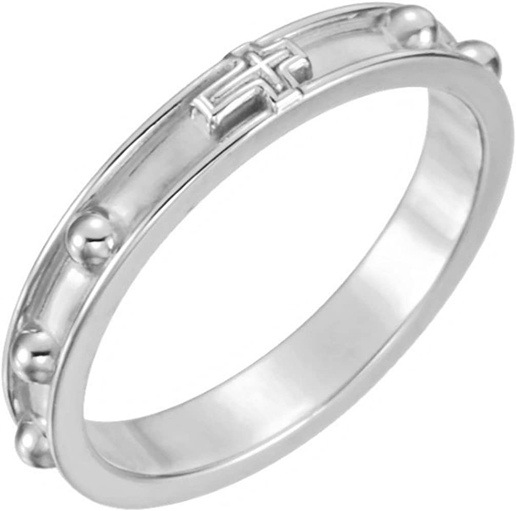 Fashion Sterling Silver 3.25mm Time sale Band Rosary