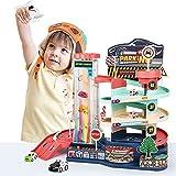 VATOS Garaje para niños Garaje eléctrico y Manual, con 6 Coches y 1 helicóptero | Juguete de Garaje con 3 Niveles, Luces y música, para niños y niñas de 3 4 5 6 7 8 años