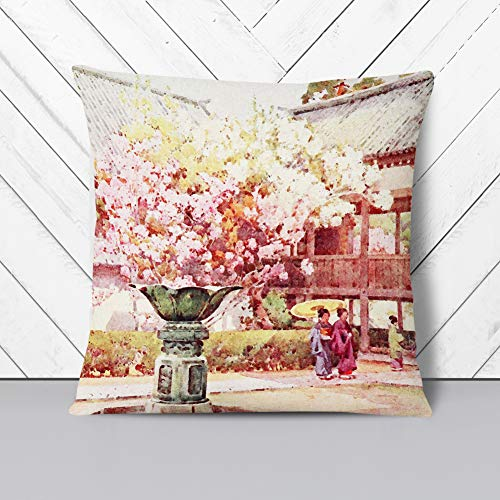 Big Box Art Cushion and Cover - Ella Du Cane Japanese Oriental Cherry blossom Chion-in Temple - Single Square Throw Pillow - Soft Faux Suede Material - Double-sided - 40x40 cm