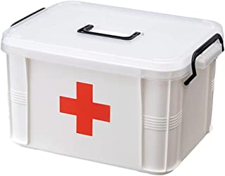 TOPBATHY First Aid Box Container Lockable Family Medicine Chest Storage Box Organizer Empty Emergency Kit with Handle for ...