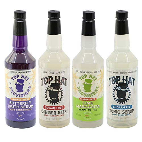 Top Hat Skinny Keto Mixology Gift Set - 4 Flavor Cocktail Mixer Combo Kit - Sugar-Free Quinine Tonic Syrup, Sugar-Free Ginger Beer Syrup, Sugar-Free Margarita Mix & Butterfly Truth Serum - 32oz - 4 Pack