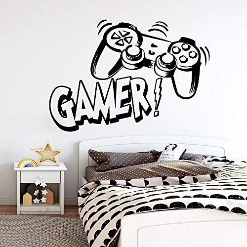 Gamer tallado Vinilo etiqueta de la pared sala de juegos para niños Decoración de la habitación Murales de pared niños dormitorio Decoración gaming poster wallpaper-XL 58cm X 83cm