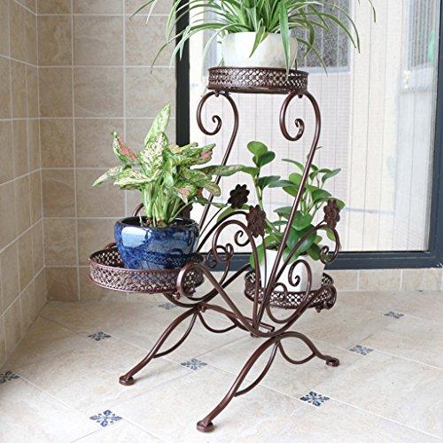 MLHJ Stand de Fleurs- Stand de Fleur de Fer au Sol Flowerpot Multi-étages intérieur et extérieur de Style européen Fleur Salon Balcon Fleur Verte (Couleur : Brown)