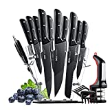 OOU Kitchen Knife Set with Block, 15 German High Carbon Stainless Steel Professional Chef Knives, Sharp and Japanese Full Tang Forged, Acrylic Stand and Knife Sharpener, BEST Black NO STAIN Cutlery
