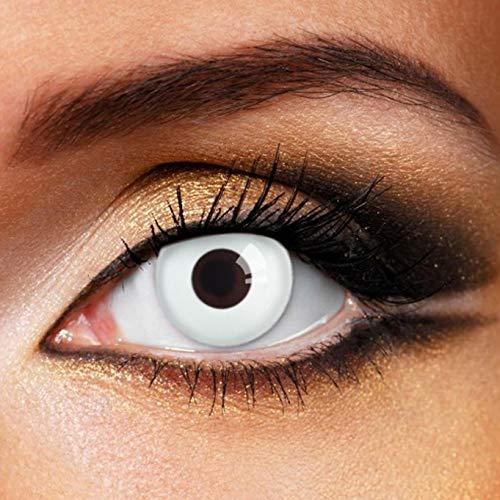 Partylens Farblinsen - White Out - weiche Kontaktlinsen - Jahreslinsen mit Kontaktlinsenbehälter Jahreslinsen, Weiß, / BC 8.6 mm / DIA 14.5 mm / 0 Dioptrien