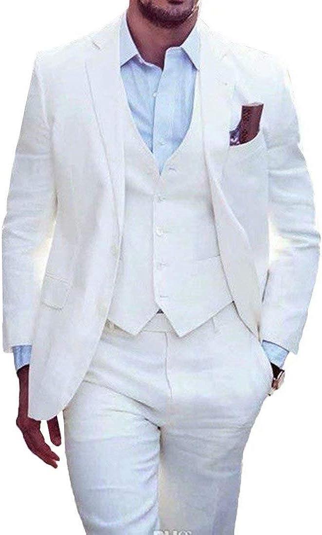 RONGKIM Men's White 3-Piece Classic Fit Office 2 Buttons Suit Jacket & Pleated Pants Set