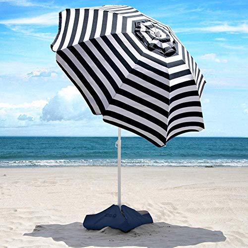 XKRSBS Parasol de Plage - 6,5 pi Heavy Duty Tilt Umbrella Coupe-Vent Portable avec Sacs de Sable et d'ancrage de Sable UPF 50+ PU revêtement avec Un Sac de Transport pour Patio et extérieur