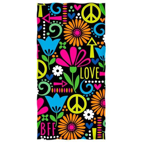 Dawhud Direct Peace Love and Flowers Super Soft Cotton Beach Bath Pool Towel