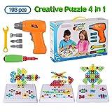 Jeu de construction 3D, Jeux De Construction Mosaïque, Ensemble de jouets de perceuse électrique 4 en 1, assemblage de puzzles, 193 PCS avec 18 cartes d'animaux