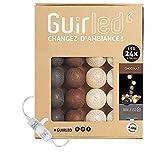 Guirlande lumineuse boules coton LED USB - Veilleuse bébé 2h - Adaptateur secteur double USB 2A inclus - 3 intensités - 24 boules 4m - Chocolat