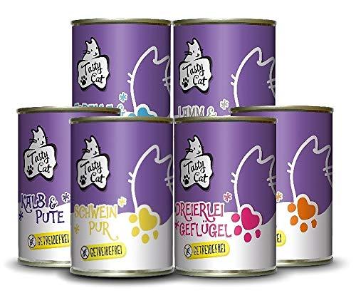 Tasty Cat Nassfutter für Katzen Probierpakerl 6 x 400g. | getreidefrei | zuckerfrei