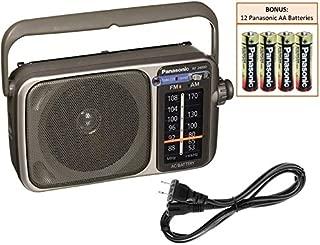 Panasonic RF-2400D Portable AM/FM Radio Player - Rugged Pocket Radio - Battery Operated Vintage Transistor Radio - Large Tuning Knob - Best Reception - Includes 12 Panasonic AA Batteries