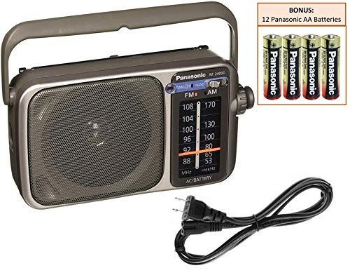 Panasonic RF-2400D Portable AM/FM Radio Player - Rugged Pocket Radio - Battery Operated Vintage Transistor Radio - Large Tuning Knob - Best Reception - Includes 12 Panasonic AA Batteries