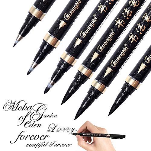 Kalligraphie Stifte - Reastar 6 Stück Kalligraphie Kugelschreiber Schwarze Fasermaler Pinsel Stift - für Schriftzug, Anfänger Tagebuch, Unterschrift, Beschriftung, Design und Zeichnung (4 Größen)