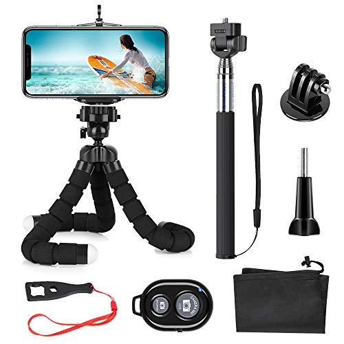 SmilePowo Mini Trépied Flexible Portable pour Smartphone iPhone Téléphone GoPro Caméra Appareil Photo avec Télécommande Bluetooth, Perche Selfie, GoPro Adaptateur, Support Téléphone