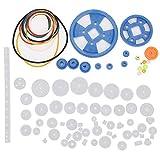 Juego de engranajes de 80 piezas, accesorios de motor de caja de engranajes de plástico Kit de manga de eje de polea de correa de engranaje Robot DIY Piezas de fabricación científica para robot