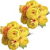 Nubry 2 Piezas Artificial Peonía Seda Flores Bouquet para Boda Inicio Jardín Fiesta Decoración (Amarillo)
