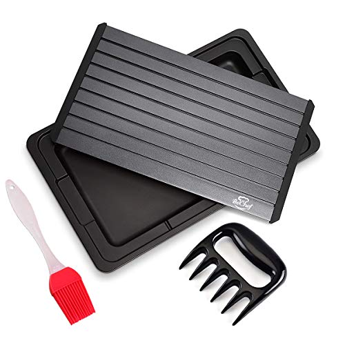 """BeChef Defrosting Tray   16""""x10""""x6MM Extra Large Thawing Plate   With drip tray, silicone basting brush, shredding claw   No Electricity, No Chemicals, No Microwave   Premium Quality"""
