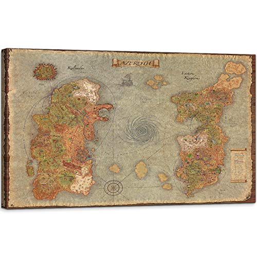 You Hong World Map of Warcraft Picture Wall Decor Retro Map Canvas Wall Art Azeroth Game Art Poster Framed Ready to Hang for Game Room Decor (28''H x 40''W)