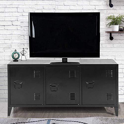 BAKAJI Mobile Mobiletto TV Televisione in Metallo Credenza con 3 Ante Doppio Scomparto Interno Dimensione 40 x 120 x 58 cm Design Moderno Industriale Arredamento Casa Ufficio (Nero)