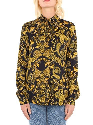 Versace Jeans Couture - Camisa de mujer negra con impresión dorada B0HZA614-ZDP201 Tess S0813 899 Twill VI Print Gold Paisley (40)