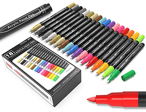 18 Acrylic Paint Markers Paint Pens Assorted Vibrant Markers Set 0.7mm Extra Fine Tip for Rock Painting, Glass, Canvas, Mugs, Wood, Fabric, Metal, Scrapbooking. Non Toxic Water-Based, Quick Drying