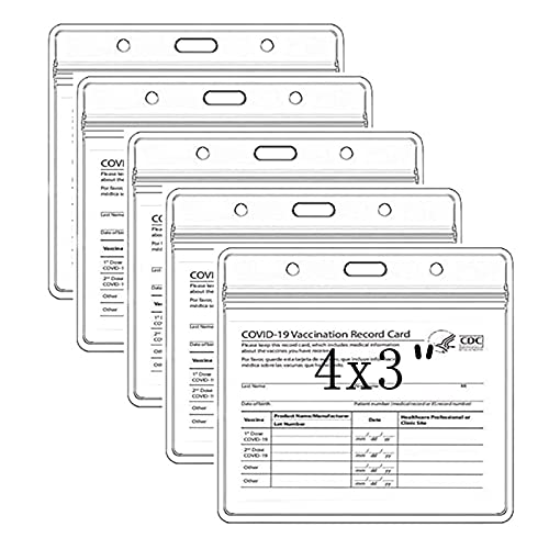 5 Pcs Vaccine Card Protector CDC Vaccination Card Protector 4 X 3 Inches Immunization Record Vaccine Cover Vaccine ID Badge Cards Holder Clear Vinyl Plastic Sleeve with Waterproof Type Resealable Zip
