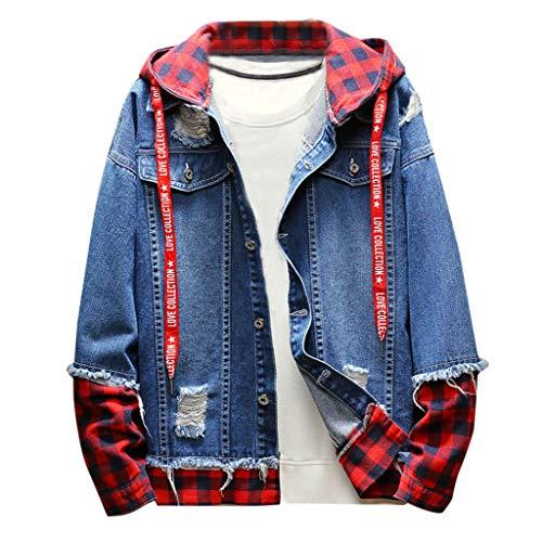 FRAUIT Vintage Plaid Herren Hoodie Denim Jacke Männer Wash Distressed Denim Mantel Cowboy-Overall, Campus Mode-Straßenbekleidung Lose Bequem Sweatjacke