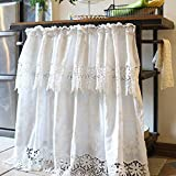 Cafe Curtains Tendine a metà Finestra,Bianco Cotone Tendine Cucina,Finestra Decorazione per Balcone Camera Parete Bagno Bistrot